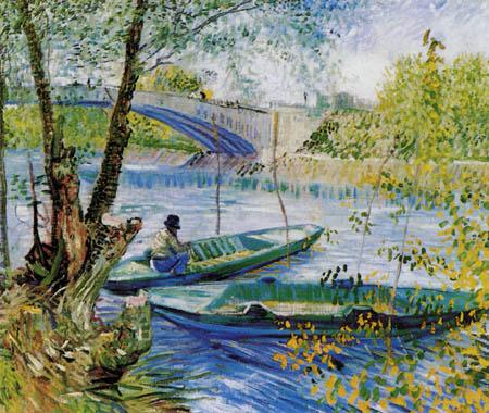 Vincent van Gogh - Angler und Boote an der Pont de Clichy