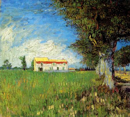 Vincent van Gogh - Bauernhaus in einem Weizenfeld