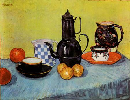 Vincent van Gogh - Stillleben mit Kaffeekanne, Geschirr und Früchten