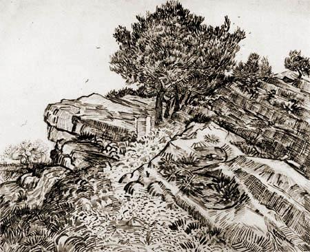 Vincent van Gogh - Rocks with trees, Montmajour
