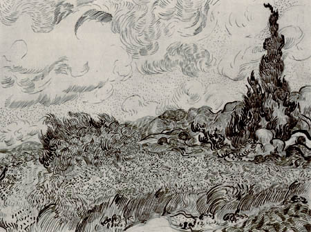 Vincent van Gogh - Wheat Field with Cypresses, study