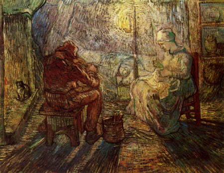 Vincent van Gogh - In the evening (after Millet)