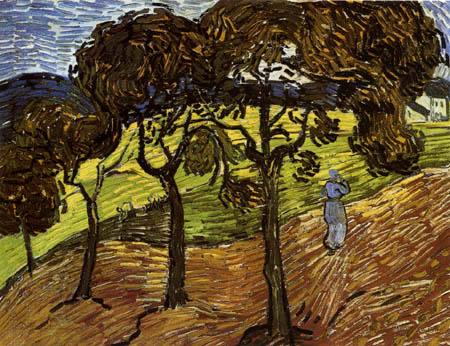 Vincent van Gogh - Landscape with trees ans farmers