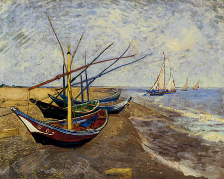Vincent van Gogh - Fishing boats at the beach