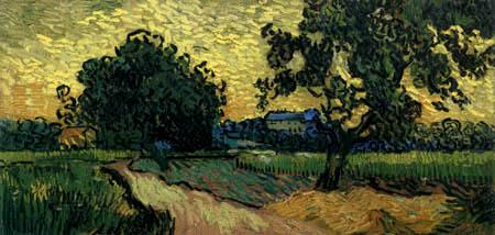 Vincent van Gogh - Landschaft in Abenddämmerung
