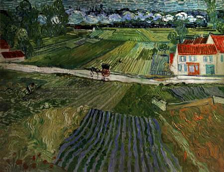 Vincent van Gogh - Landschaft mit Pferdewagen und Zug