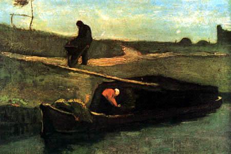 Vincent van Gogh - Torfboot mit zwei Figuren