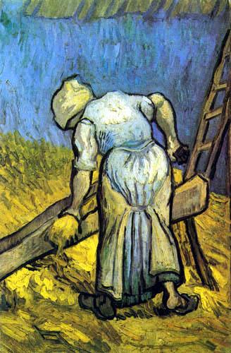 Vincent van Gogh - Bäuerin beim Strohschneiden
