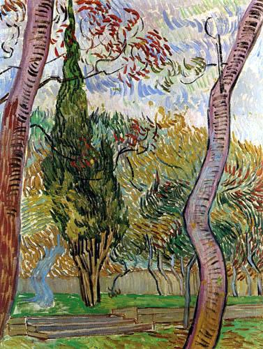 Vincent van Gogh - Trees in the Garden of Saint-Rémy