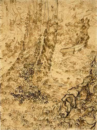 Vincent van Gogh - Bäume mit Efeu im Garten der Heilanstalt