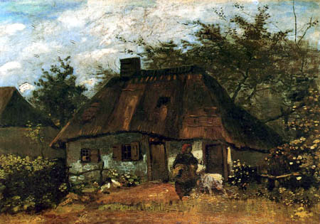 Vincent van Gogh - A farmhouse with a woman and goat