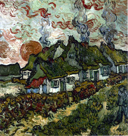 Vincent van Gogh - Cottages and Setting Sun