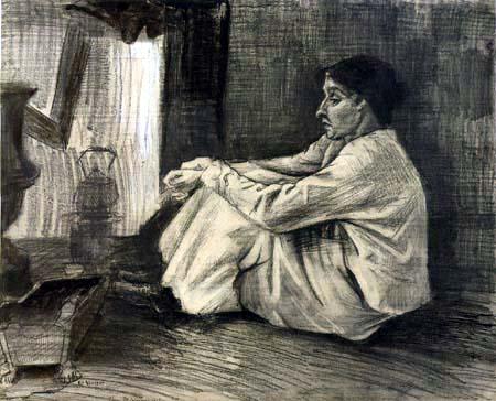 Vincent van Gogh - Sitzende Frau am Ofen, Sien