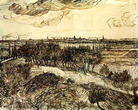 Vincent van Gogh - Blick auf Arles von Montmajour aus