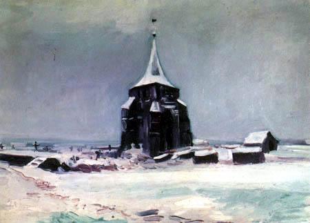 Vincent van Gogh - El antigua torre de cementerio en Nuenen en nieve