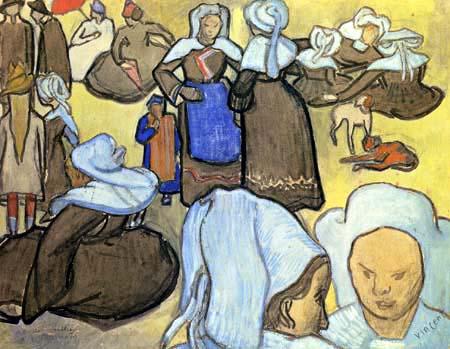 Vincent van Gogh - Breton Women and Children