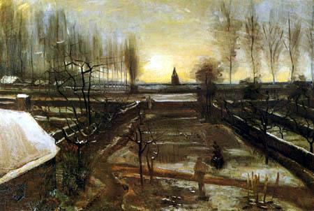 Vincent van Gogh - El jardín de la rectoría en Nuenen en la nieve