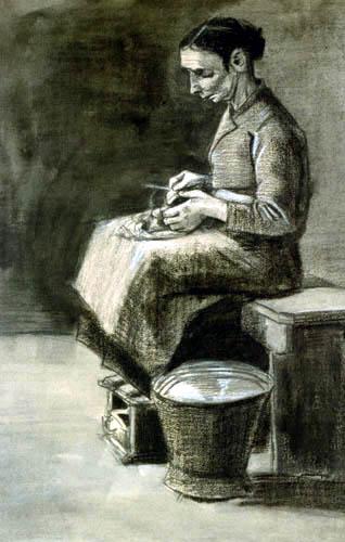 Vincent van Gogh - A woman peels potatoes