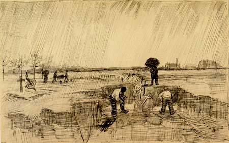 Vincent van Gogh - Friedhof im Regen