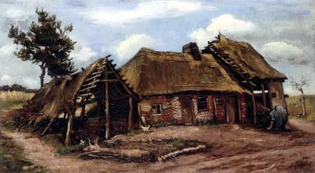 Vincent van Gogh - Bauernhaus mit gebückter Bäuerin