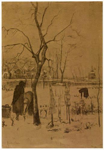 Vincent van Gogh - Der Pfarrgarten in Nuenen im Schnee