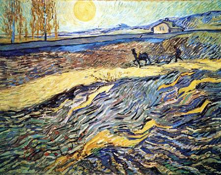 Vincent van Gogh - Eingezäuntes Feld mit pflügendem Bauern
