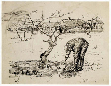Vincent van Gogh - Gardener in front of a gnarled apple tree