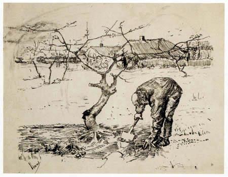 Vincent van Gogh - Gärtner vor einem knorrigen Apfelbaum