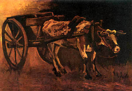 Vincent van Gogh -  A cart with a red-brown ox