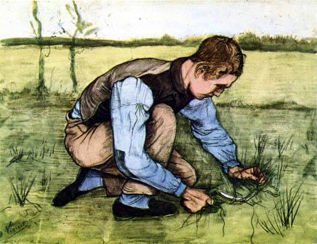 Vincent van Gogh - Kauernder Junge mit Sichel