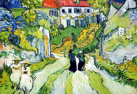 Vincent van Gogh - Dorfstraße und Treppe in Auvers