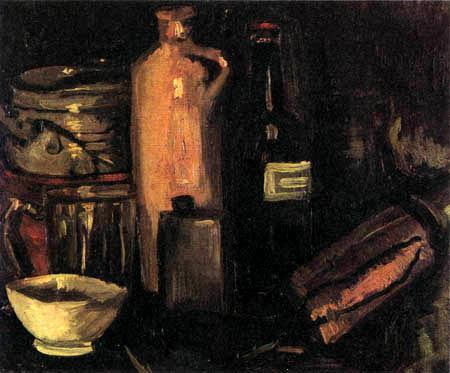 Vincent van Gogh - Stilleben mit Steinkrug, Bierglas und Flaschen