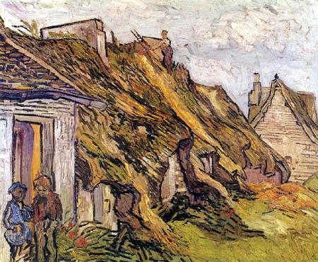 Vincent van Gogh - Strohgedeckte Hütten in Chaponval