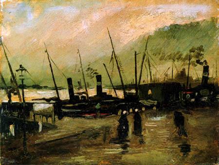 Vincent van Gogh - Kai in Antwerpen mit Schiffen