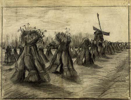 Vincent van Gogh - Kornbündel und Windmühle