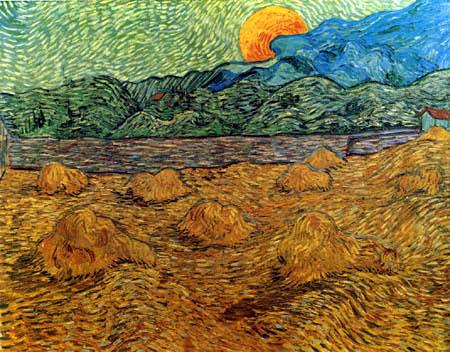 Vincent van Gogh - Landschaft bei Mondaufgang