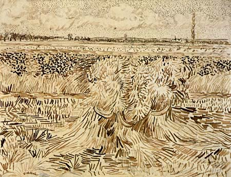 Vincent van Gogh - Campo de trigo con las gavillas de grano