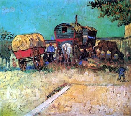 Vincent van Gogh - Zigeunerlager mit Pferdewagen