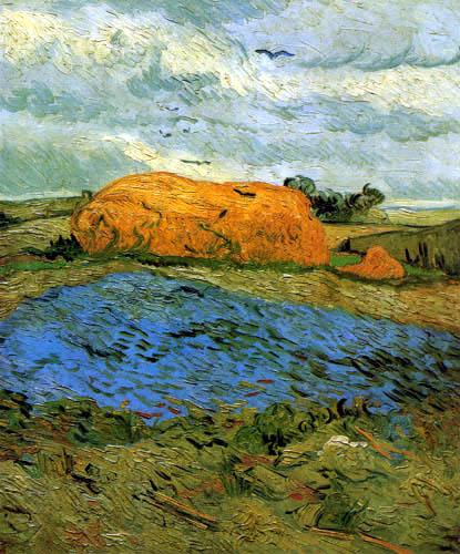 Vincent van Gogh - Haystacks on a rainy day