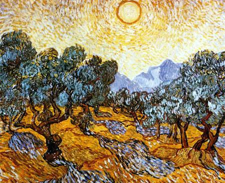Vincent van Gogh - Olivenbäume mit gelbem Himmel und Sonne
