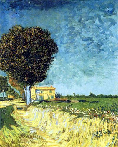 Vincent van Gogh - Avenida en Arles con casas