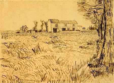 Vincent van Gogh - Field with a farm house