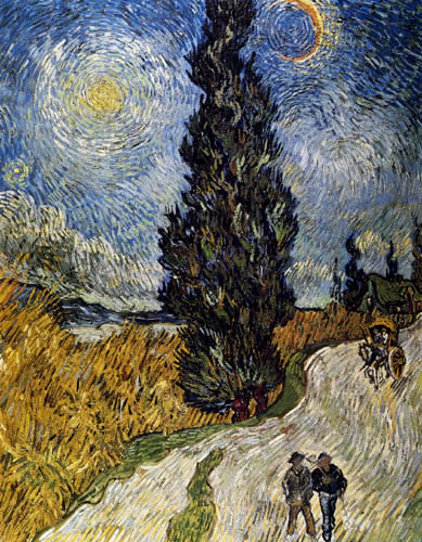 Vincent van Gogh - Weg mit Zypressen, Kutsche und Stern