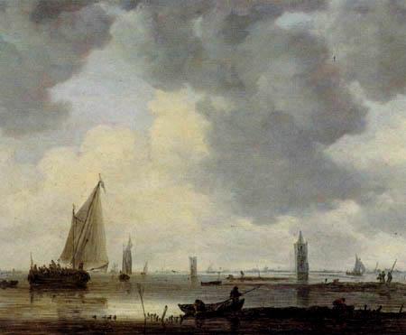 Jan van Goyen - Leuchttürme in einer Flußmündung