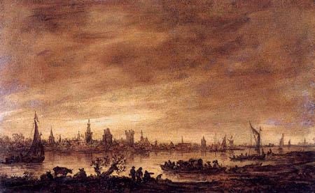 Jan van Goyen - Vianen am Lek, Skizze