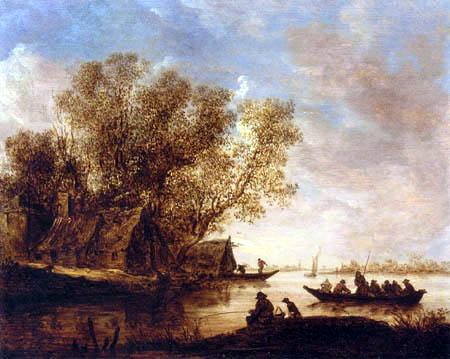 Jan van Goyen - Flusslandschaft mit Fischersleuten