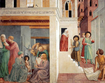Benozzo Gozzoli - The bath of the newborn child