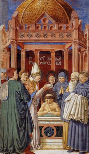 Benozzo Gozzoli - Die Taufe des Augustinus
