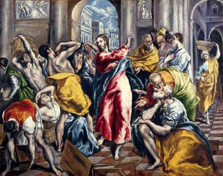 El Greco (Doménikos Theotokópoulos) - Die Säuberung des Tempels
