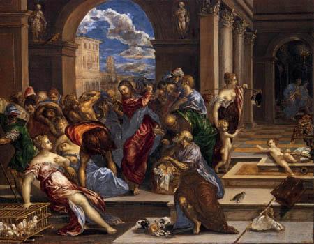 El Greco (Doménikos Theotokópoulos) - Jesus verweist die Geldwechsler aus dem Tempel